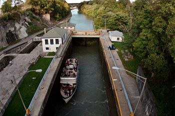 Boat passing through the Locks