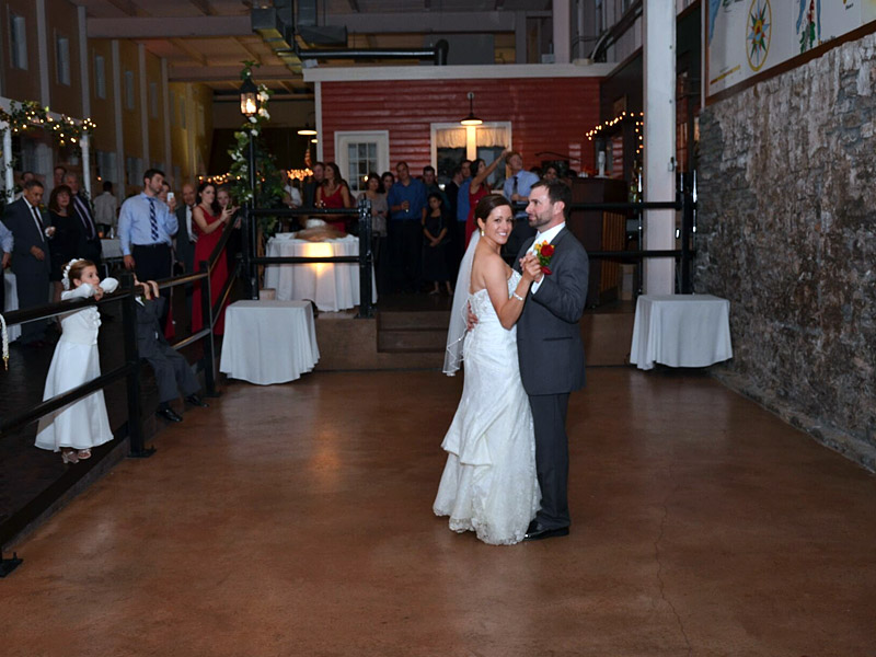 Bride and Groom Dancing At Lockport Canalside