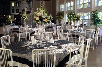 Tables for wedding at Lockport Canalside